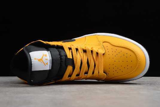 2019 Air Jordan 1 Mid ' axi Yellow' University Gold Black 554724-700