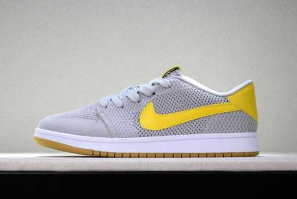 New Air Jordan 1 Low Flyknit Wolf Grey/Yellow-Gum Men' s Basketball Shoes