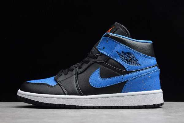 "Air Jordan 1 Mid ""Royal Splatter"" Black-White-Metallic Gold 554724-048"