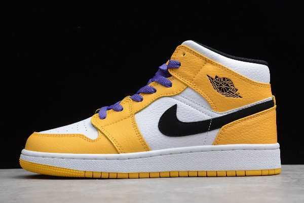 Air Jordan 1 Mid SE ' akers' White/Yellow-Purple-Black Shoes BQ6931-700