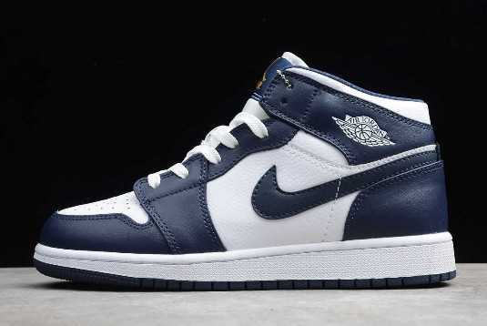 Air Jordan 1 Mid White Metallic Gold Obsidian To Buy 554724-174