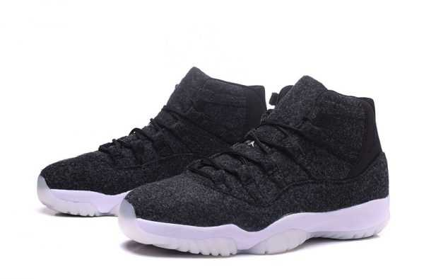 "Men' s and Women' s Air Jordan 11 ""Wool"" Dark Grey/Metallic Silver-Black 378037-050"