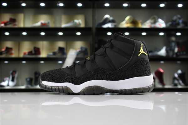 "Air Jordan 11 PRM Heiress ""Black Stingray"" Black/Metallic Gold-White 852625-030"