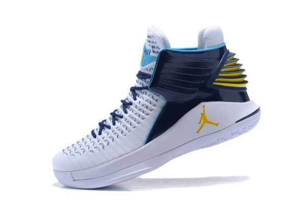 New Air Jordan 32 White/Navy-Gold Men' s Basketball Shoes