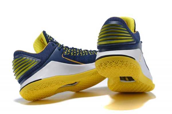 New Air Jordan 32 Low Navy/White-Maize Yellow Men' s Basketball Shoes