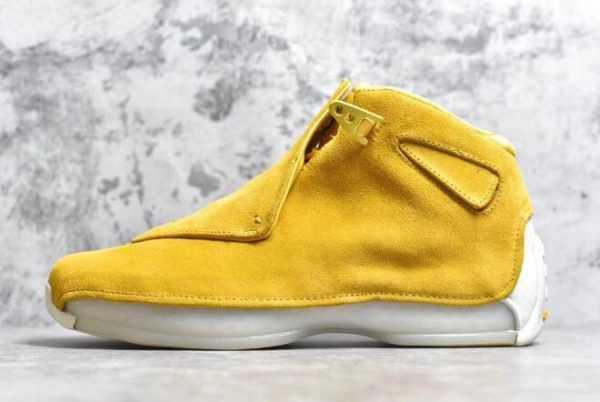 2018 Air Jordan 18 ' ellow Suede' Yellow Ochre/Sail AA2494-701