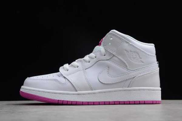 Girls Grade School Air Jordan 1 Mid GS White/Fuchsia Blast 555112-100