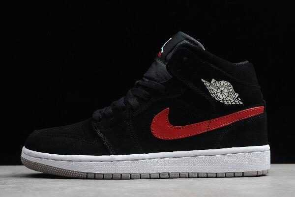 Air Jordan 1 Mid ' ulticolor Swoosh' Black/University Red-Blue Basketball Shoes