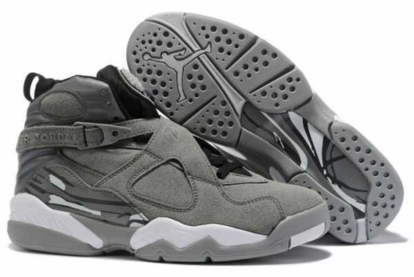 Air Jordan 8 Cool Grey/Black-White Men' s Basketball Shoes