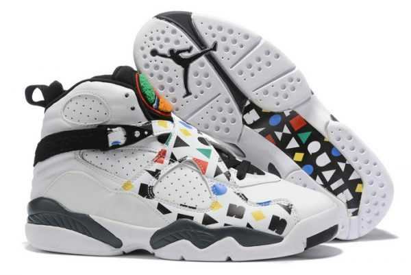 Air Jordan 8 ' uai 54' White Black-Multi-Color Men Shoes
